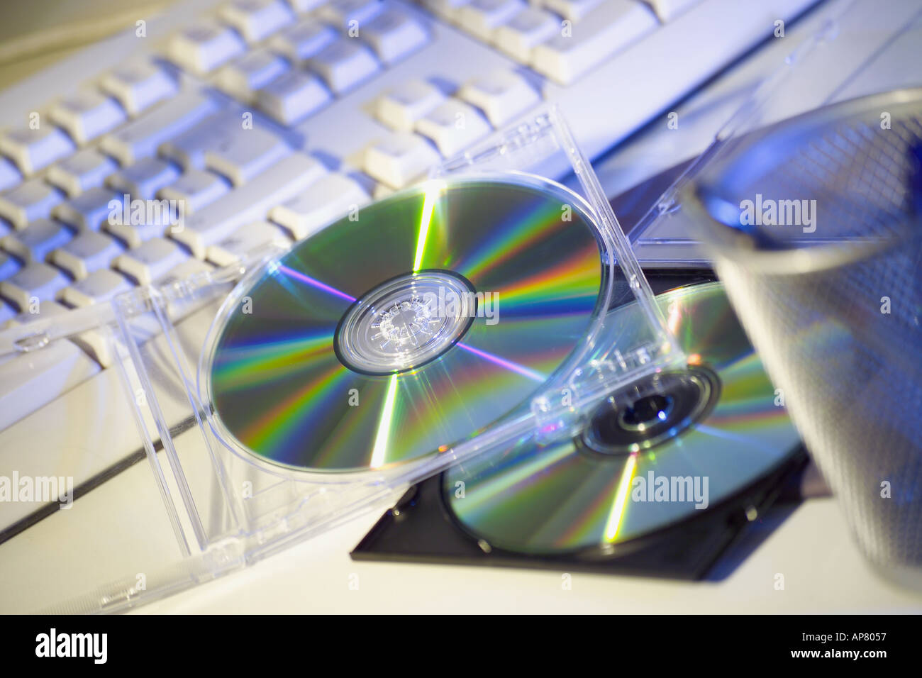 Keyboard and CD s - Stock Image