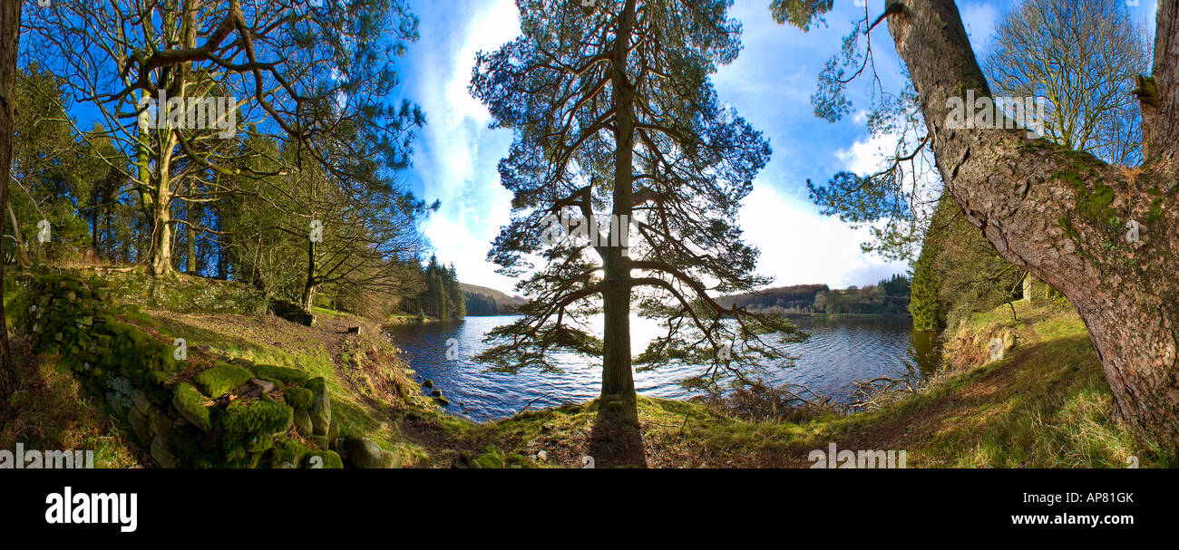 360° Panorama at Ponsticill Reservoir, Brecon Beacons Stock Photo