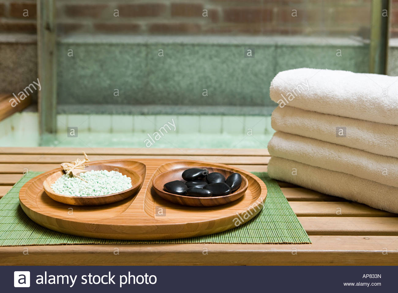 Beauty items at a health spa - Stock Image