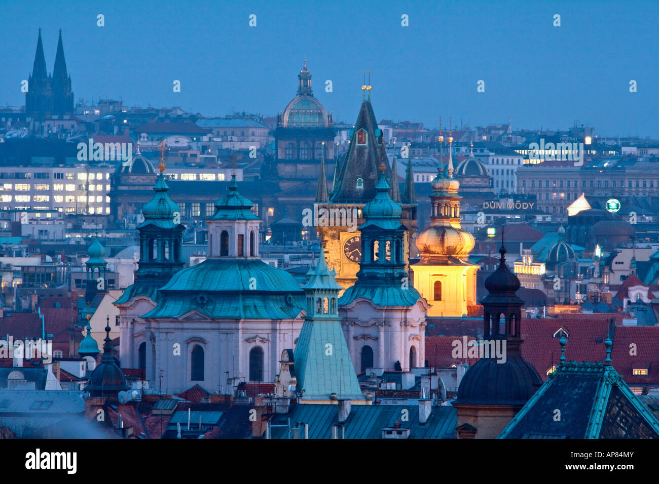 CZECH REPUBLIC PRAGUE SPIRES OF THE OLD TOWN - Stock Image