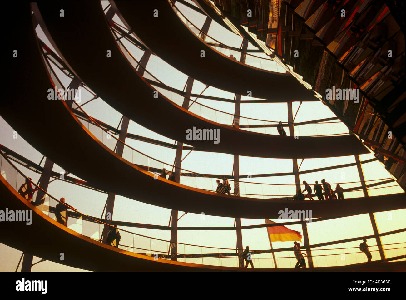 Low angle view of spiral staircase, Berlin, Germany, Europe - Stock Image