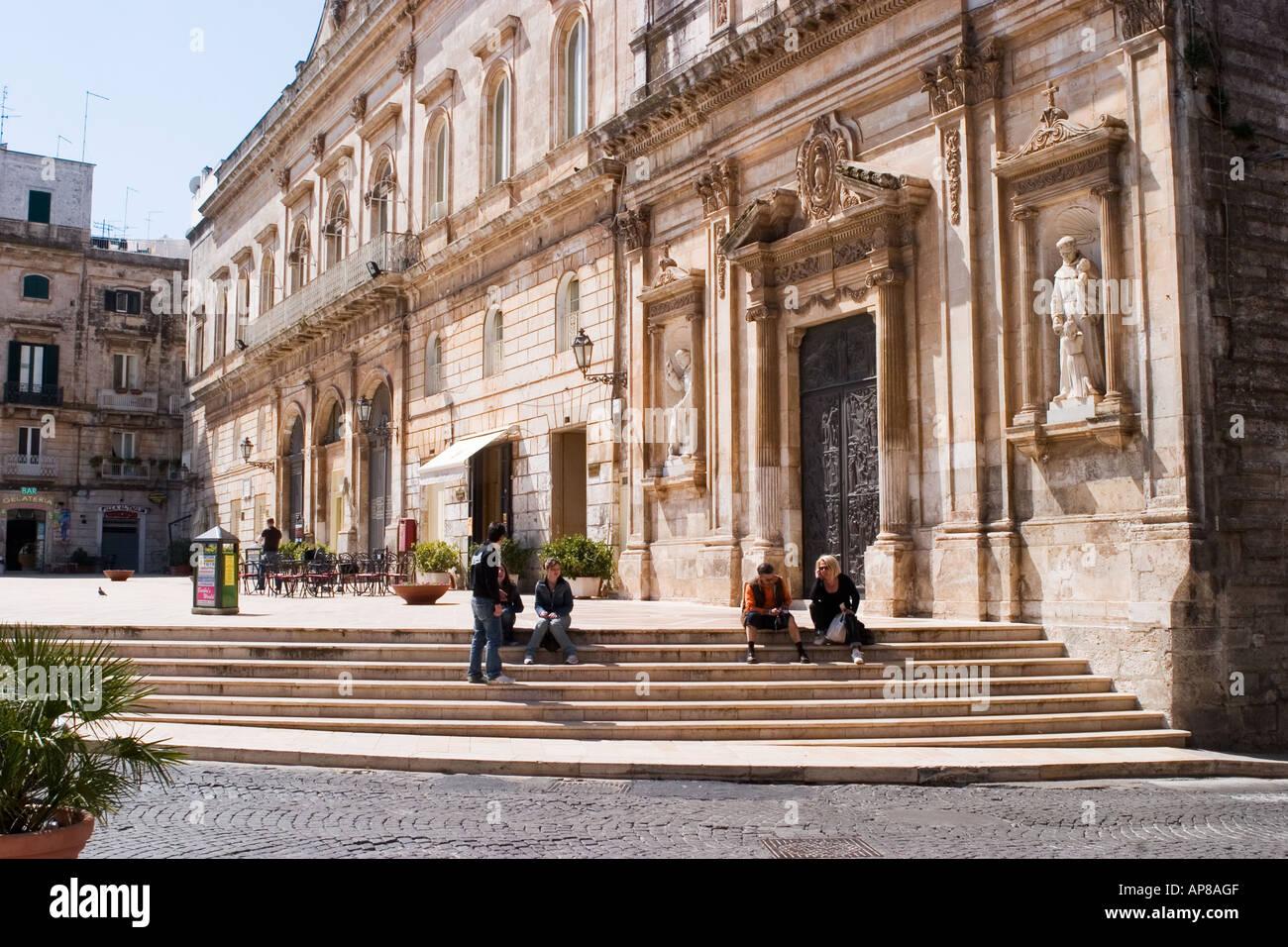 Piazza liberta and chiesa san francesco in Ostuni puglia italy - Stock Image