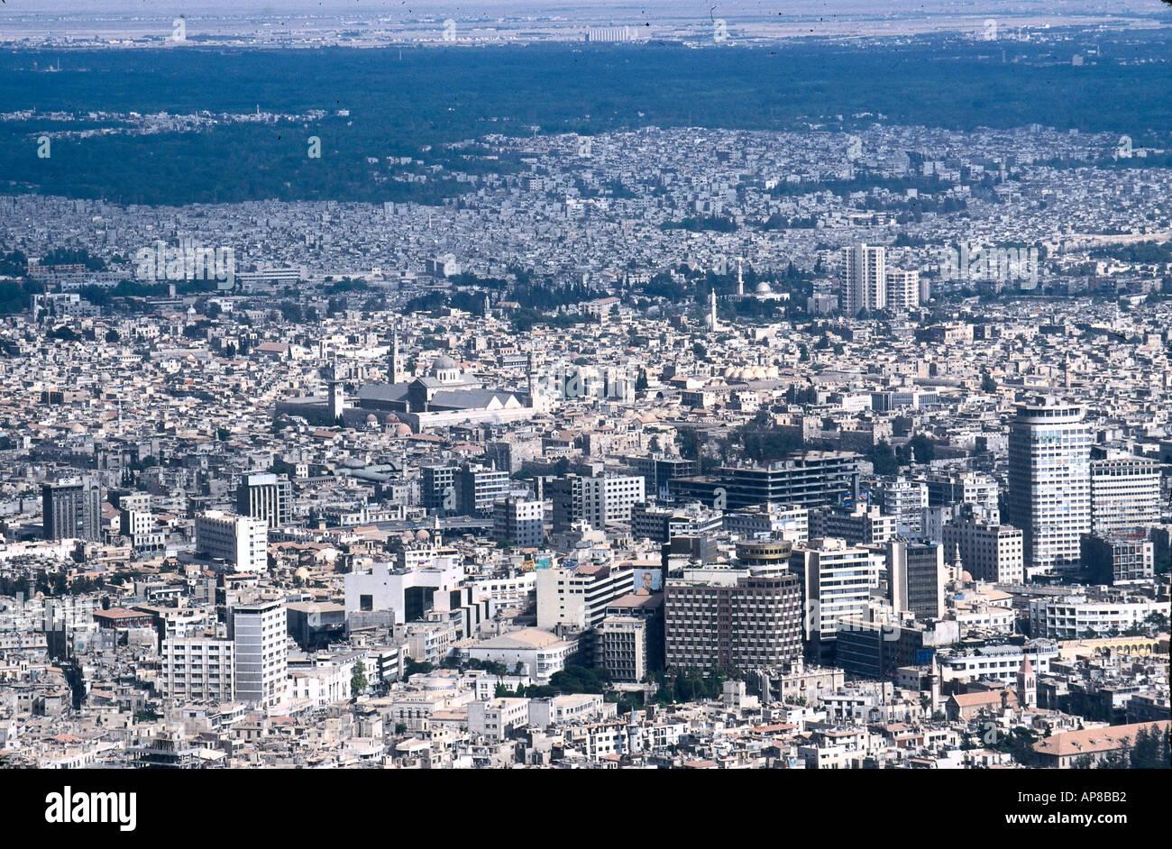 Buildings in city, Al Jarida Al Maghribia, Jebel Qassioun, Damascus, Syria - Stock Image