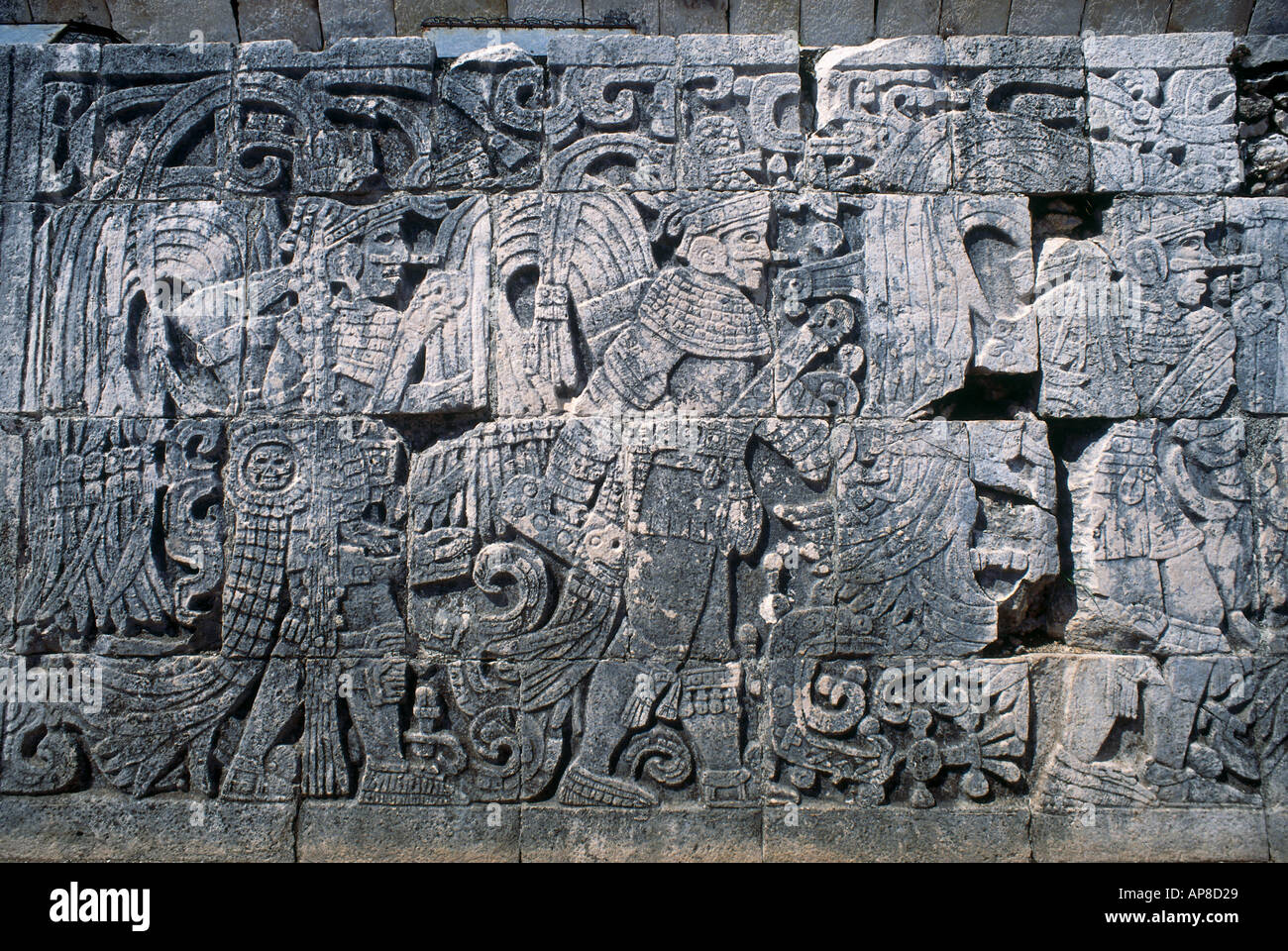 Carving on stone wall the ball court chichen itza yucatan