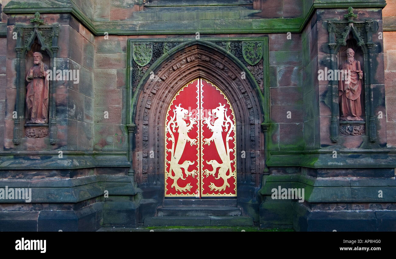 West Door of St Giles Cheadle Staffordshire England UK Designed by A W N Pugin - Stock Image