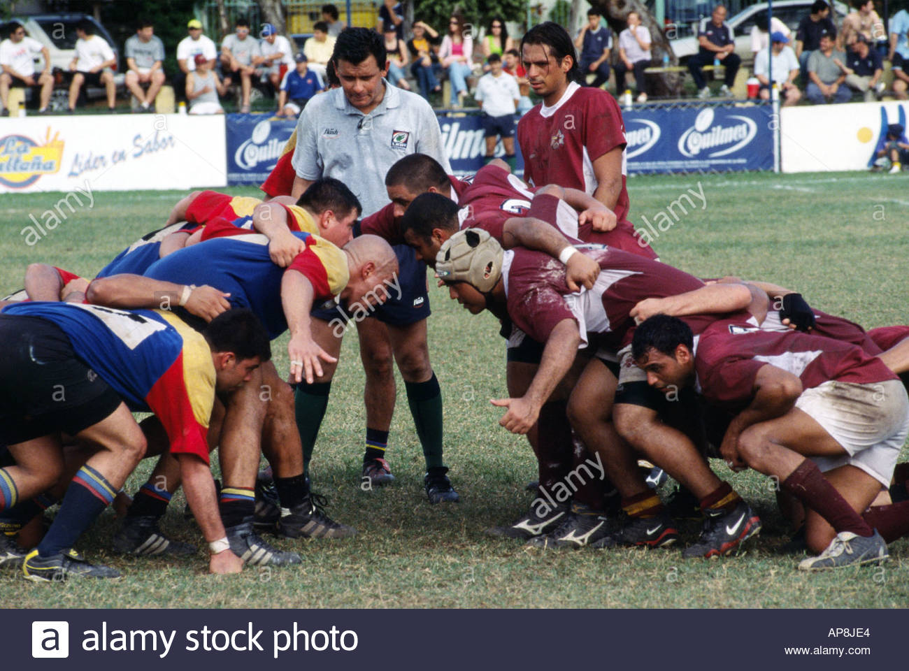 ASUNCION PARAGUAY OCTOBER 2005 5 nations rugby world cup qualification tournament Action from Colombia (blue) Venezuela - Stock Image