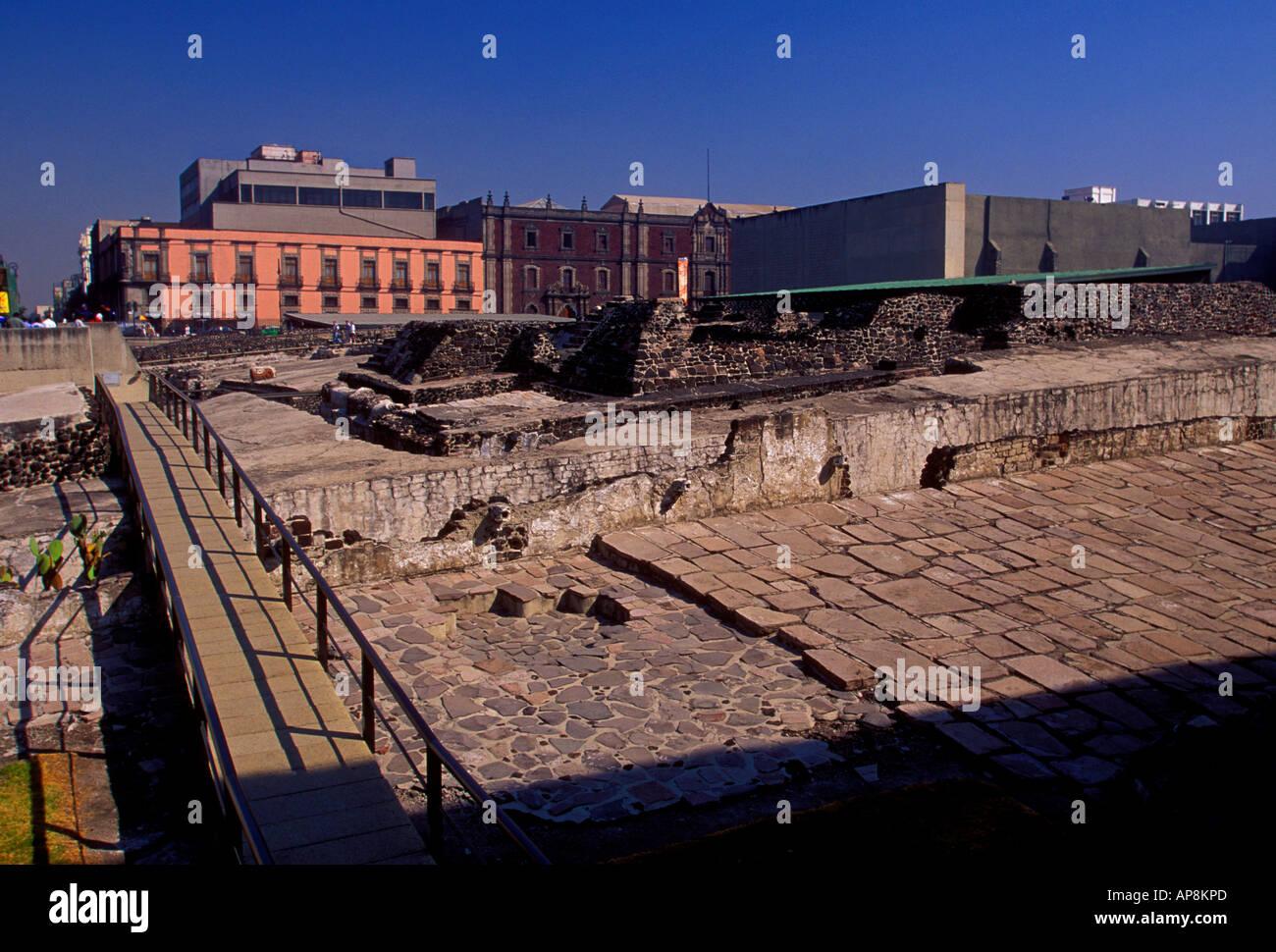 Templo Mayor, Aztec ruin, Aztec ruins, Museo del Templo Mayor, Mexico City, Federal District, Mexico Stock Photo