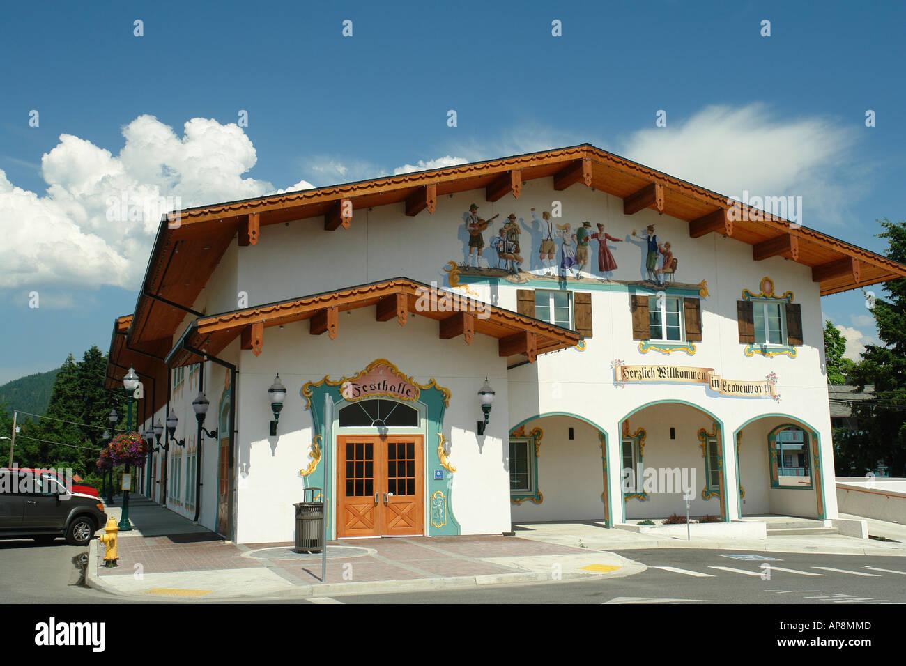 AJD52985, Leavenworth, WA, Washington, Bavarian Alpine Village, Festhalle, fresco, wall mural Stock Photo
