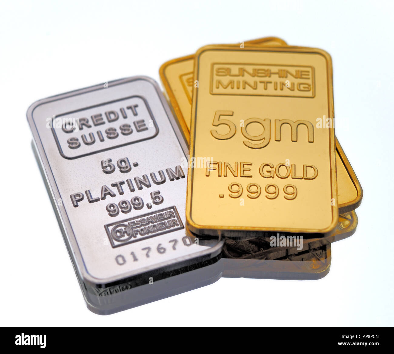 Gold and Platinum Bullion in Small Bars - Stock Image