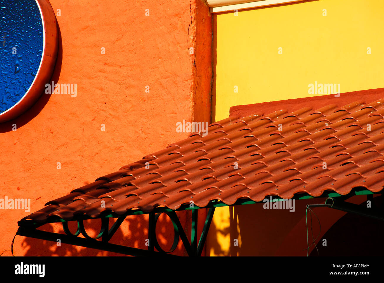 Bright colors in architecture of Mexico - Stock Image