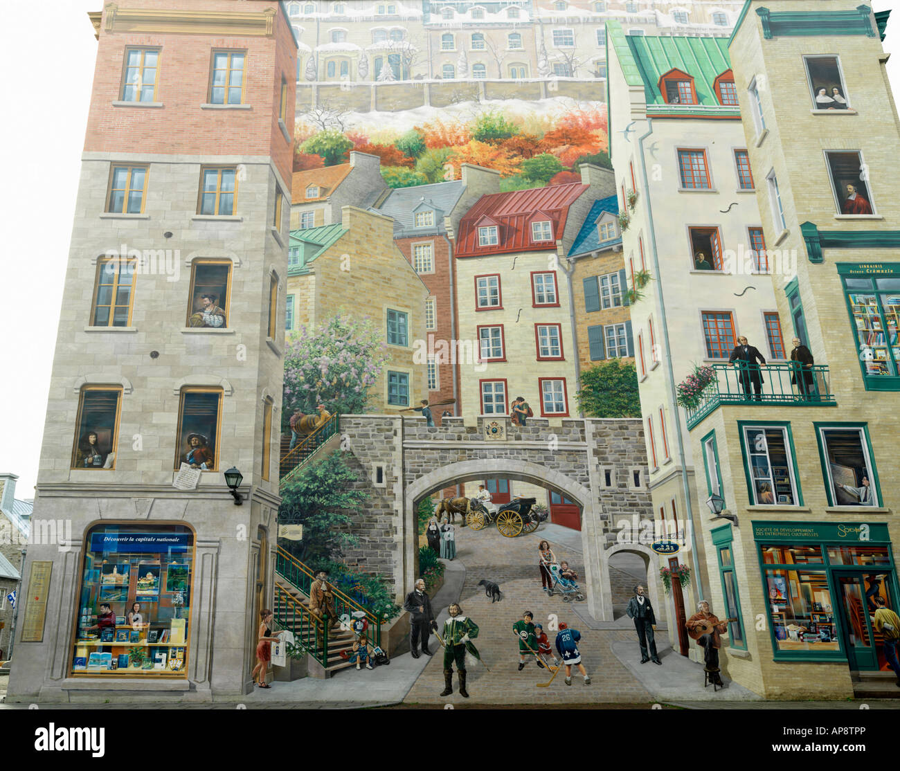 Canada Quebec Quebec City Lower Town The Mural of Quebecers Petit Champlain Quarter - Stock Image