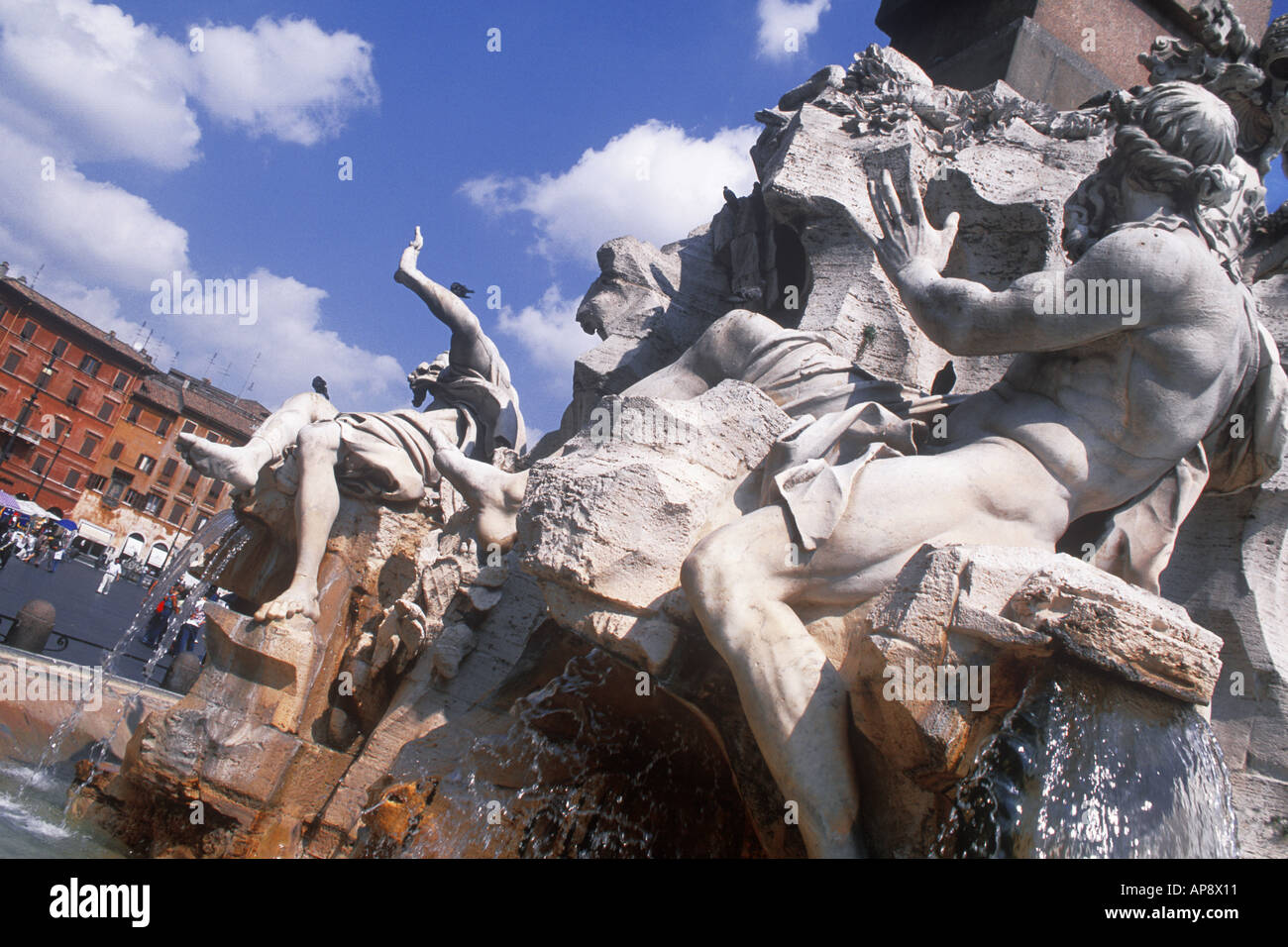 Rome Italy Piazza Navona Fountain of the Four Rivers by Giovanni Lorenzo Bernini Europe - Stock Image