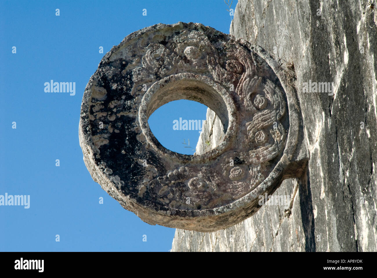 Chichen Itza, stone ring, Ballcourt - Stock Image
