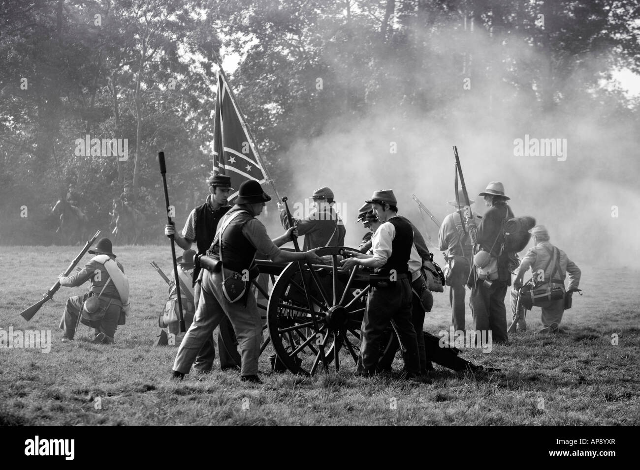 Confederate Soldiers. American Civil War re-enactment. FOR EDITORIAL USE ONLY - Stock Image