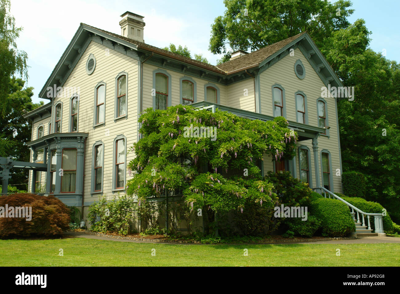 AJD52111, Salem, OR, Oregon, Bush's Pasture Park, Bush House Museum, Italianate 1877 - Stock Image