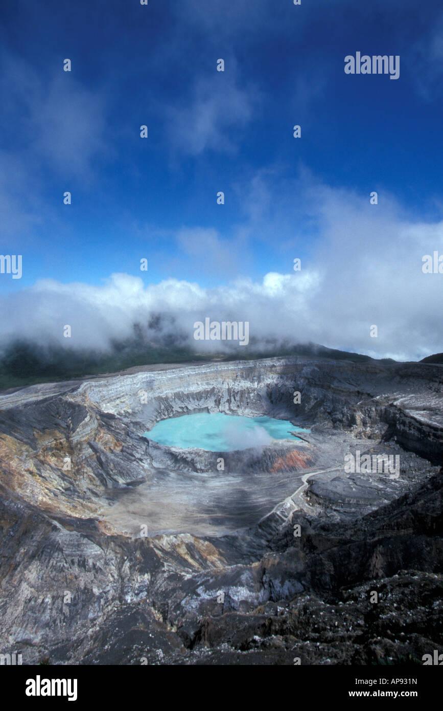 The steaming crater of active Poas Volcano, Parque Nacional Volcan Poas, Costa Rica - Stock Image