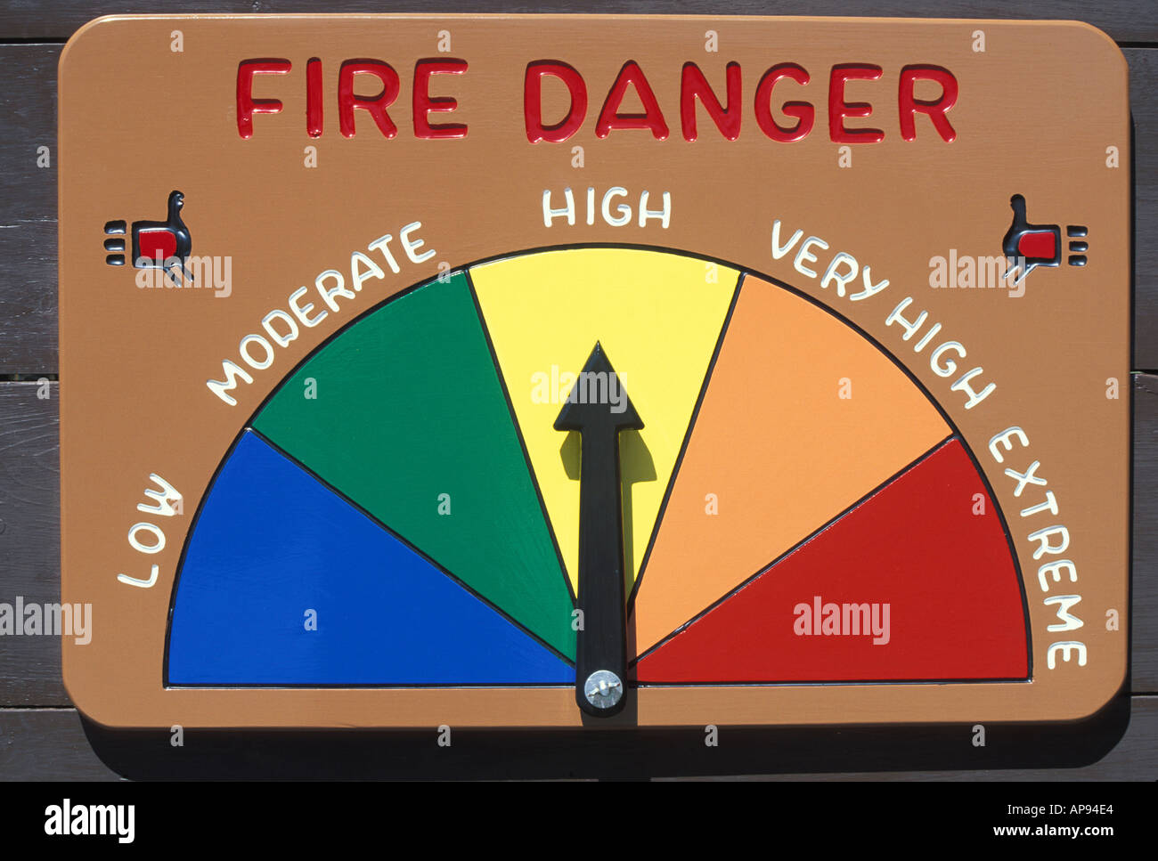 forest fire danger indicator dial - Stock Image
