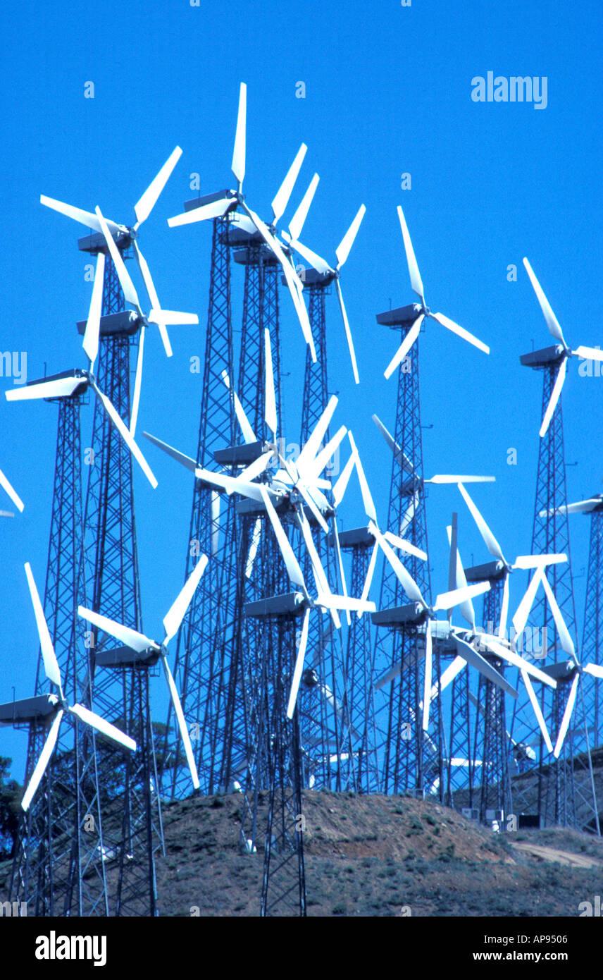 wind turbine generators Tehatchapi California - Stock Image