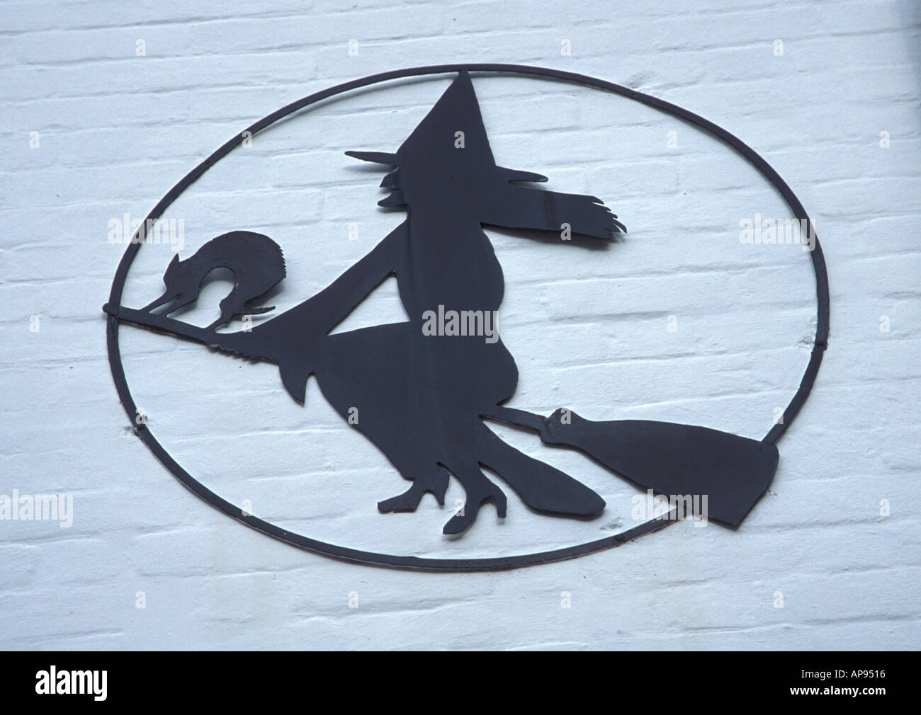 Witch picture on the side of a shop in the New Forest Hampshire UK - Stock Image