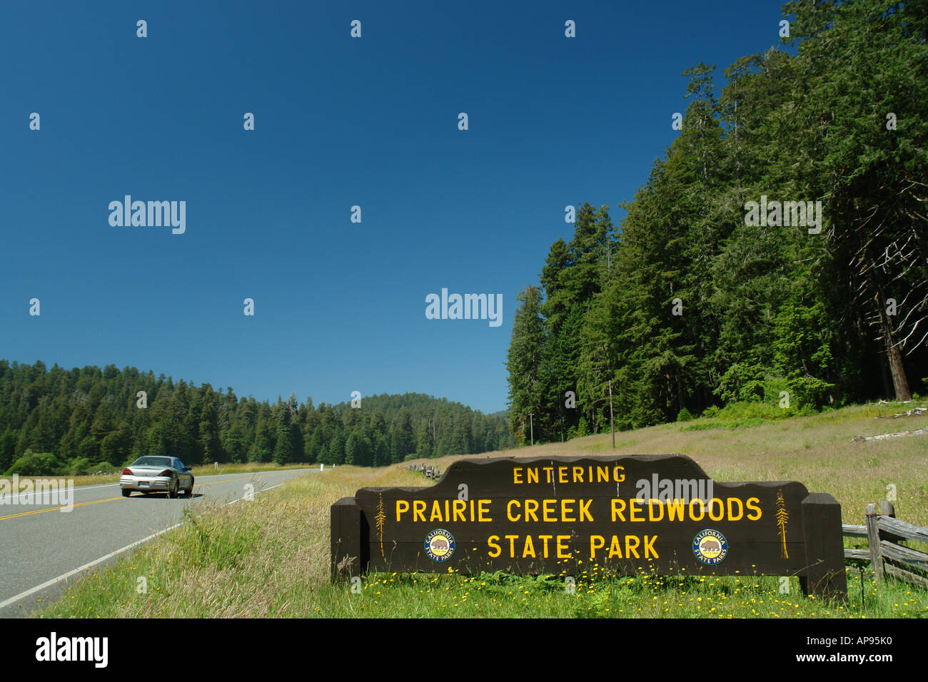 AJD51314, Prairie Creek Redwoods State Park, CA, California, Redwood National and State Parks, entrance sign - Stock Image