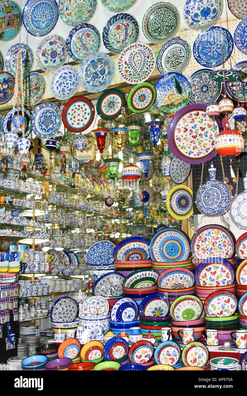 Ceramic Plates In The Grand Bazaar Istanbul Turkey Stock Photo Alamy