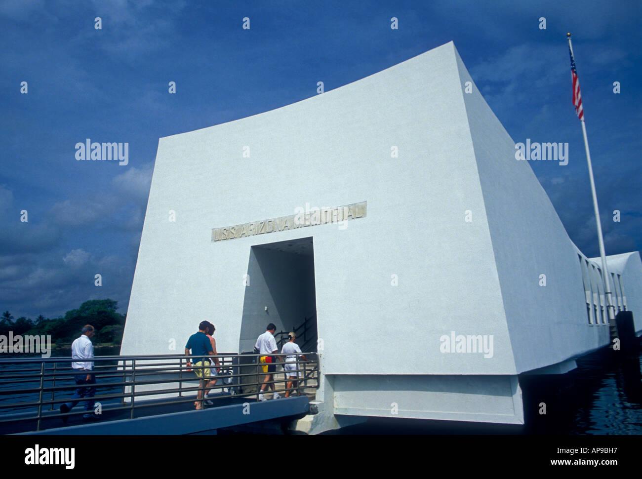 tourists, visitors, visiting, USS Arizona Memorial, Pearl Harbor, city of Honolulu, Honolulu, Oahu, Oahu Island, Stock Photo