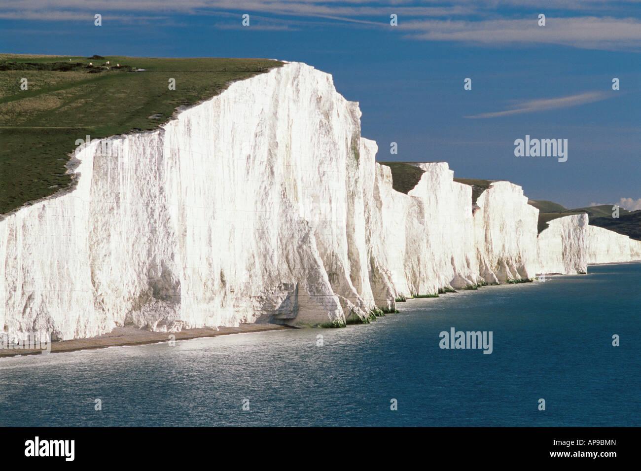 Seven sisters white chalk cliffs - Stock Image