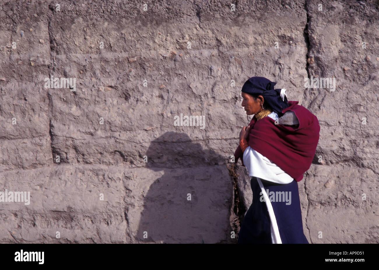 Indigenous woman at market Otavalo Ibarra Province Ecuador - Stock Image