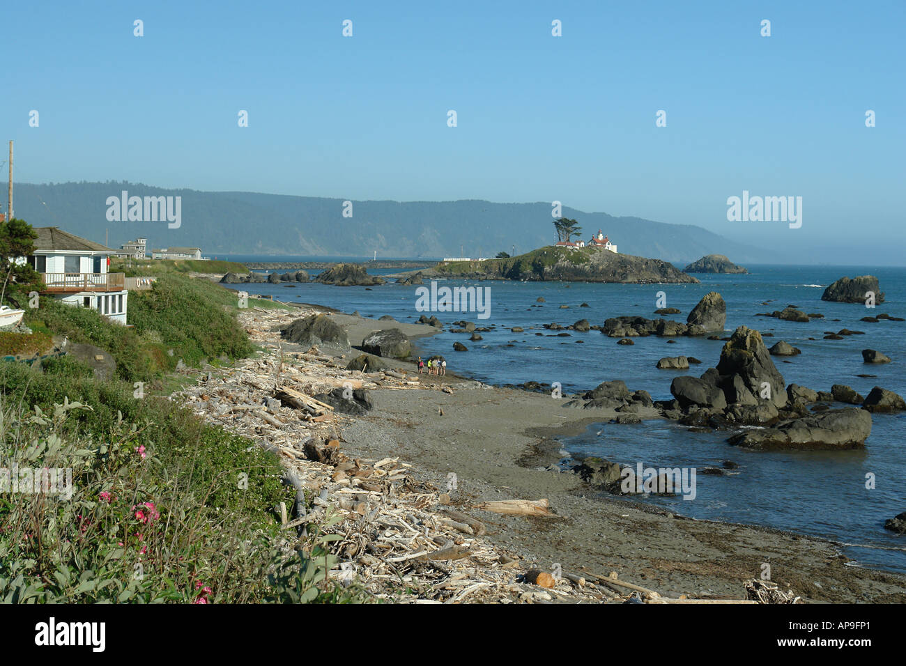 AJD51246, Crescent City, CA, California, Pacific Ocean, Battery Point Lighthouse ca 1856, Battery Point Island Stock Photo