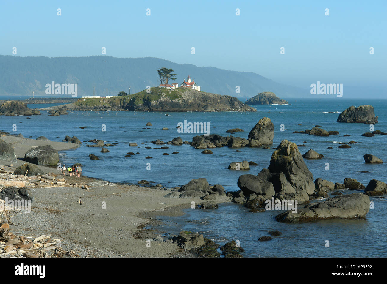 AJD51247, Crescent City, CA, California, Pacific Ocean, Battery Point Lighthouse ca 1856, Battery Point Island Stock Photo