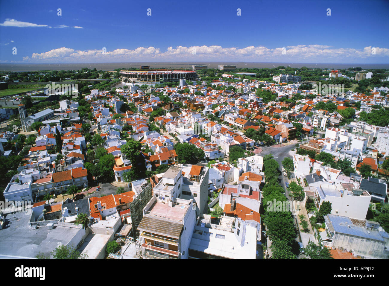 Overview of white homes in River Plata suburb with Stadium in Buenos Aires - Stock Image