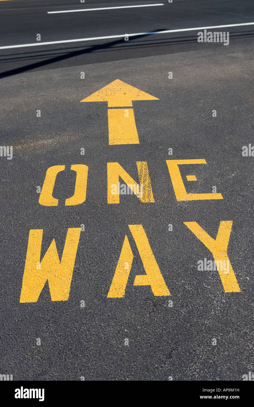 One way road marking - Stock Image
