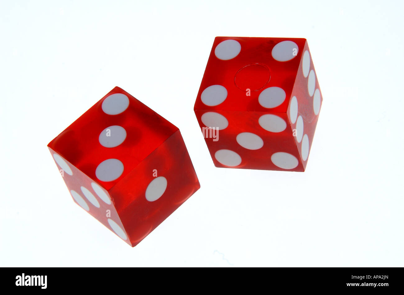 red dice showing lucky seven score - Stock Image