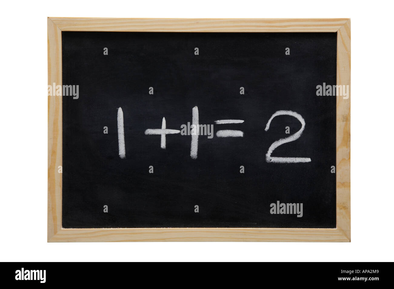 WOODEN FRAMED BLACK BOARD WITH THE SUM ONE PLUS ONE EQUALS TWO WRITTEN WITH WHITE CHALK Stock Photo