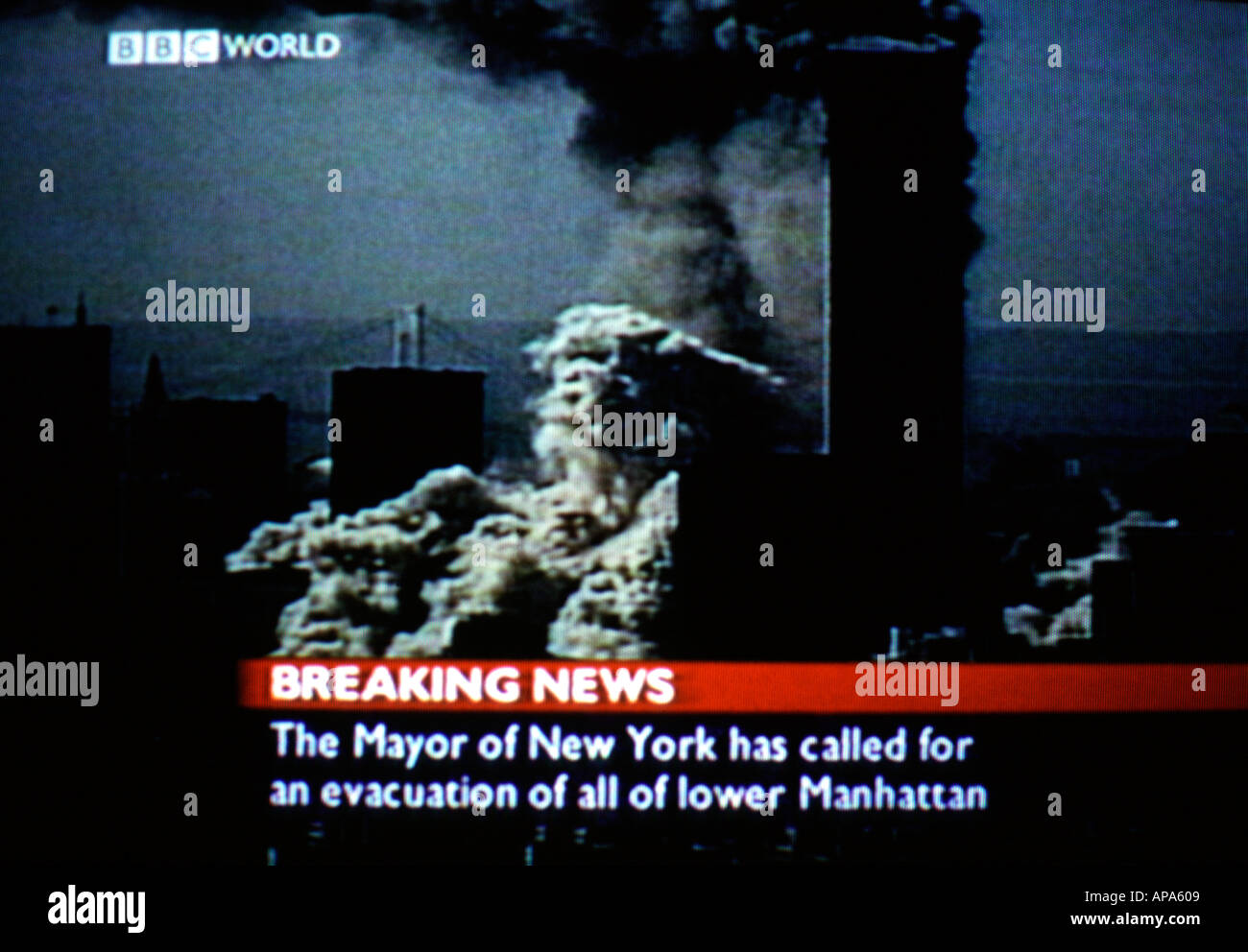 A screen shot of BBC's live coverage of events unfolding in New York during 9/11 Stock Photo