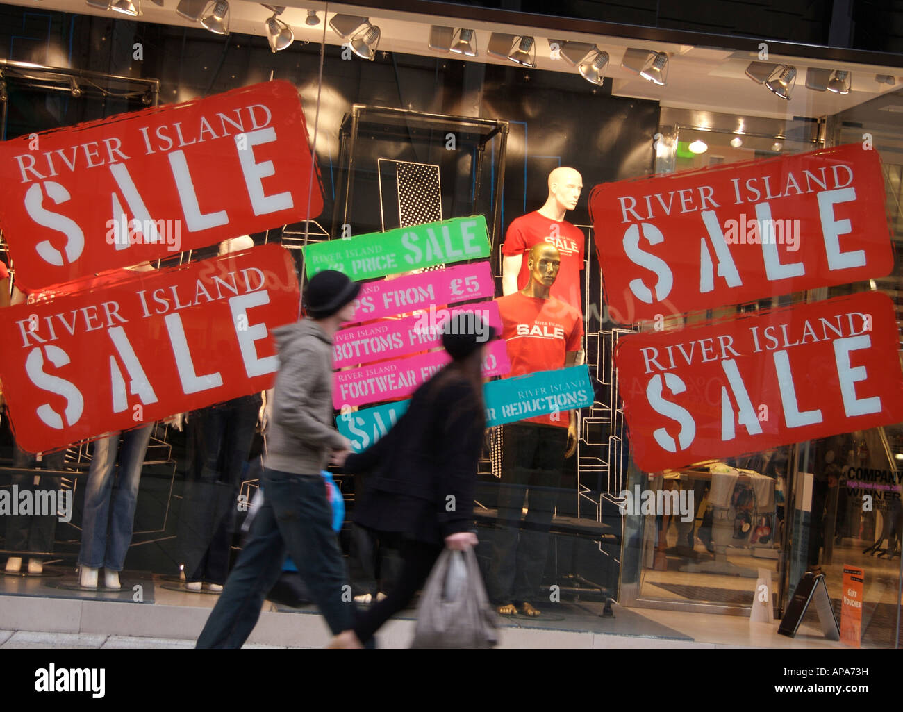 Shopping Sales Cardiff City Centre - Stock Image