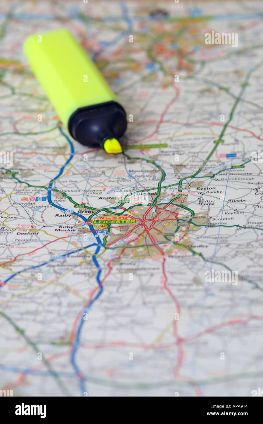 Map and marker pen planning a route - Stock Image