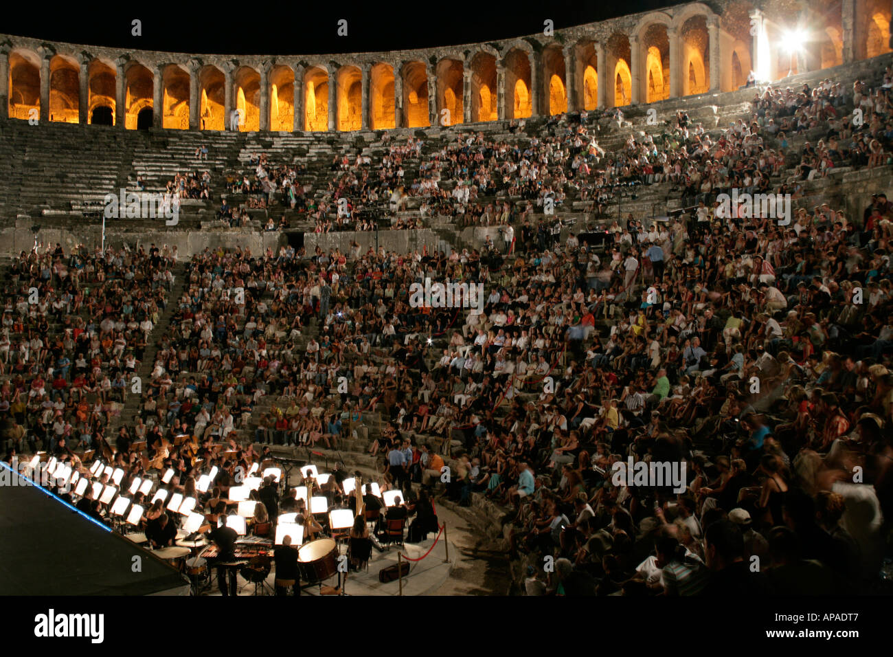 AUDIENCE AT THE ASPENDOS THEATRE, TURKEY - Stock Image
