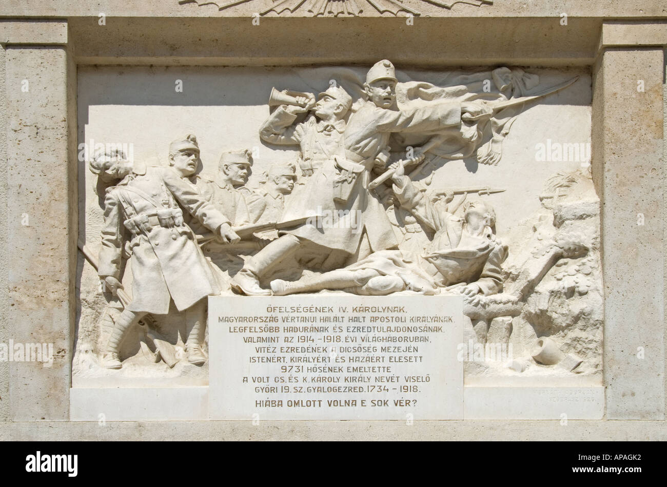 Gyor, Western Transdanubia, Hungary. Memorial to local war dead in wall of Gyor Cathedral - Stock Image