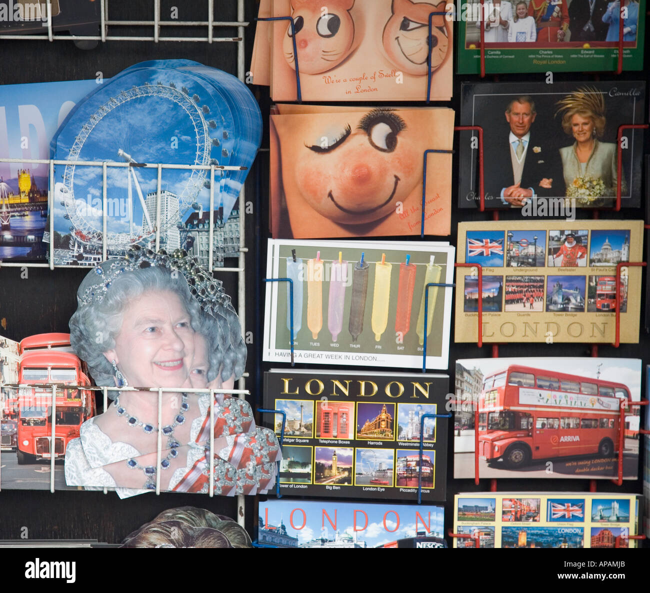 Tourist Postcards London UK - Stock Image