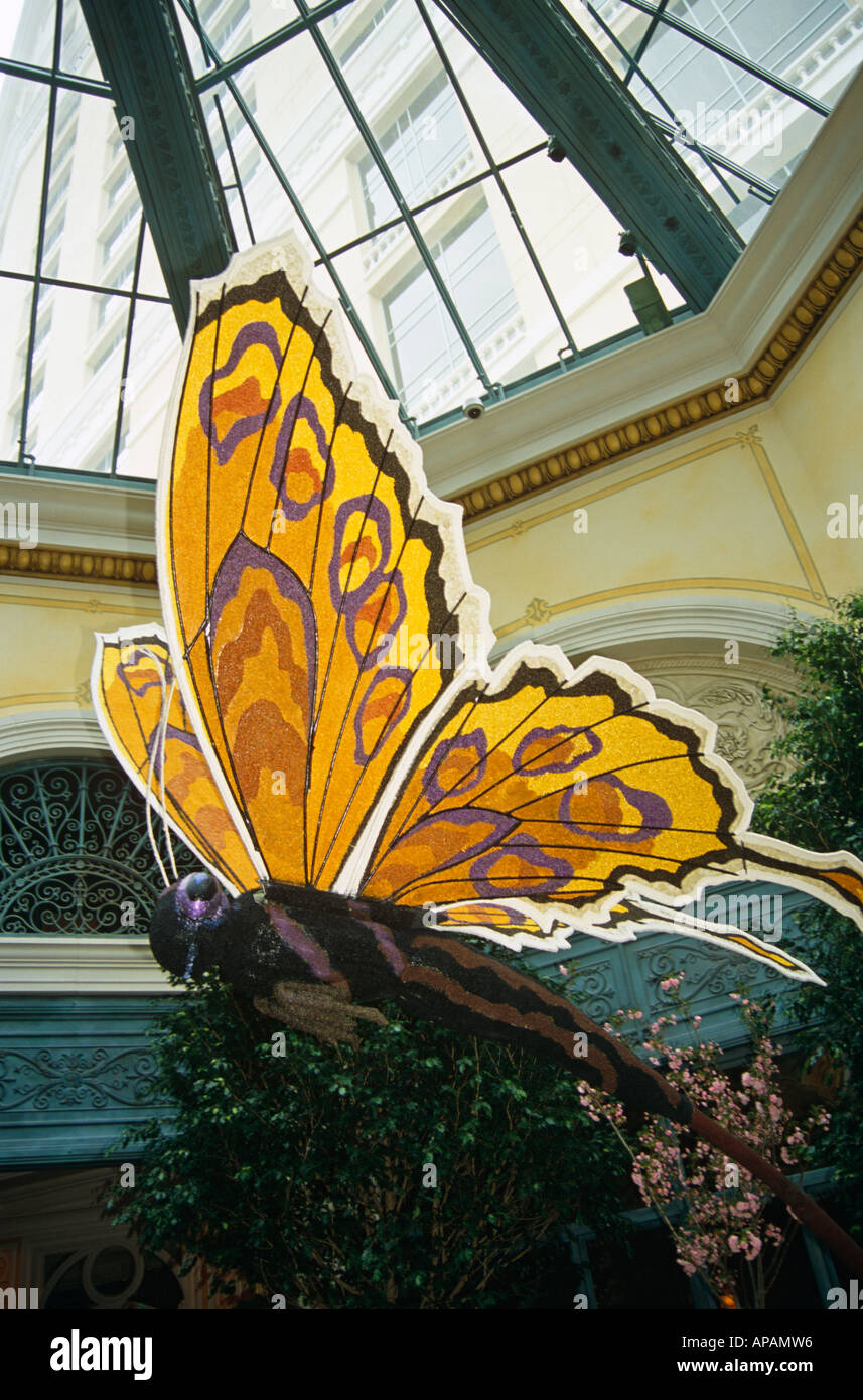 Model of butterfly inside conservatory, Bellagio Hotel and Casino, Las Vegas, Nevada, USA - Stock Image