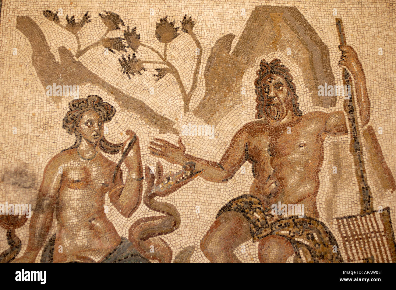 Mosaic depicting the Roman god Neptune inside the Catedral de Cordoba, a former medieval mosque, Cordoba, Andalusia, Spain. - Stock Image