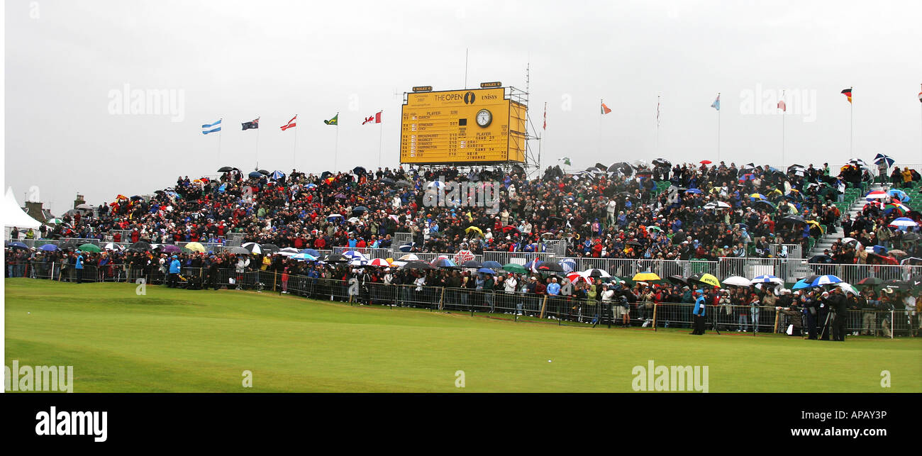 Golf fans at British open golf championship 2007 Carnoustie 18th hole - Stock Image