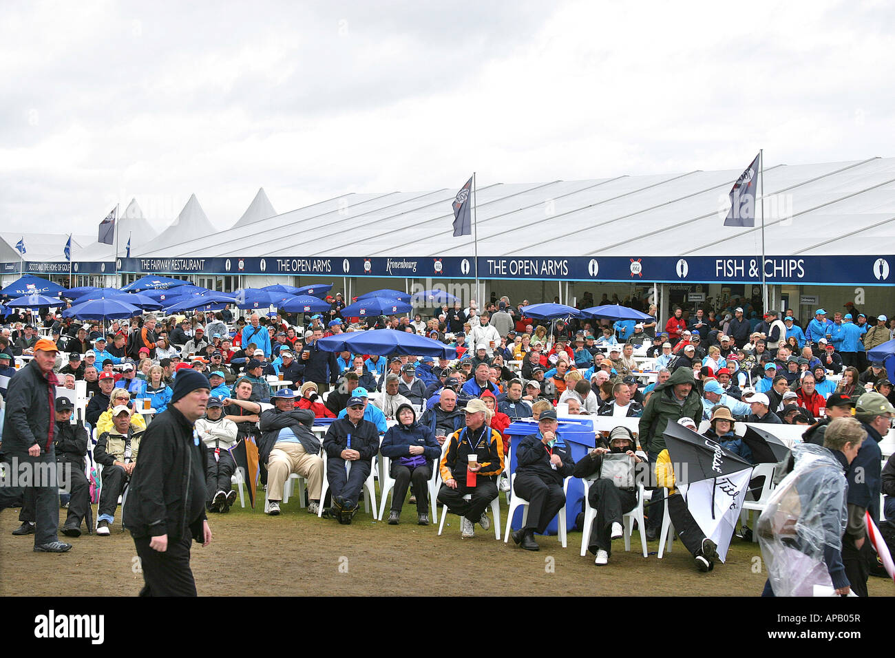 Golf fans at British open golf championship 2007 Carnoustie tented village - Stock Image