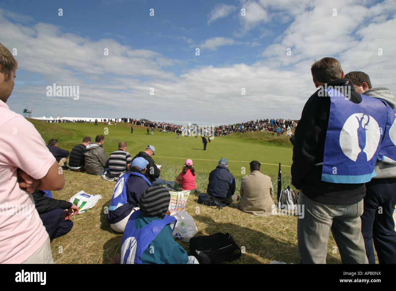 Golf fans at British open golf championship 2007 Carnoustie 1st hole - Stock Image