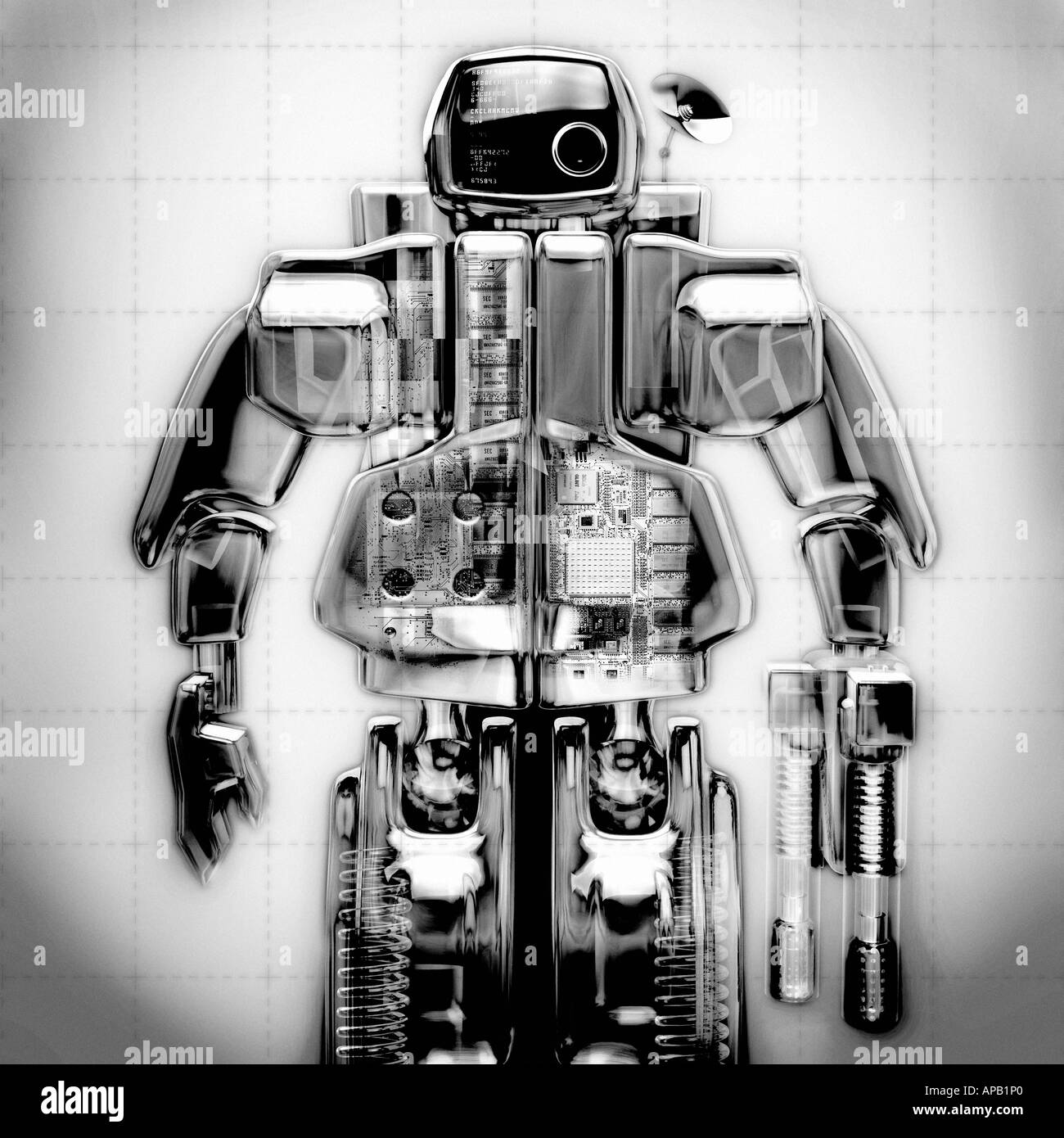 Computer generated image of a black and white robot - Stock Image
