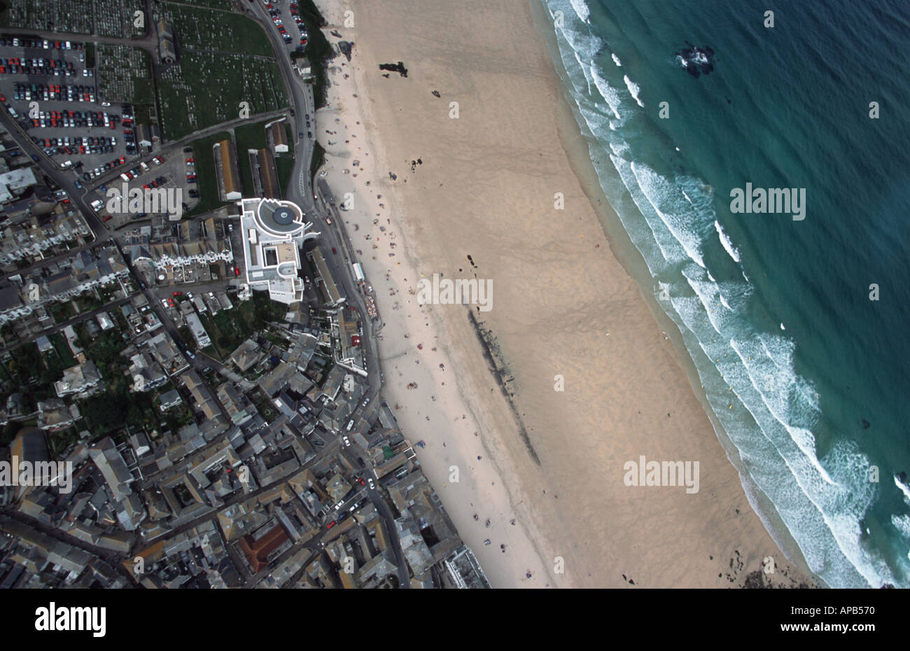 Aerial picture of St Ives, Cornwall showing Tate St Ives - Stock Image