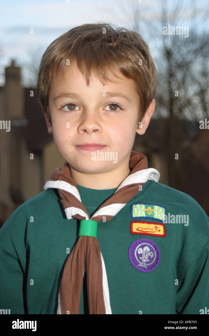 Young boy cub scout wearing his uniform kneckerchief and