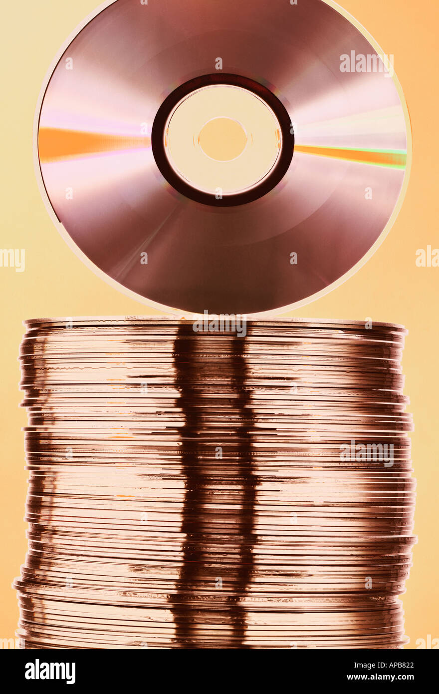 CD on top of stack of CD s - Stock Image