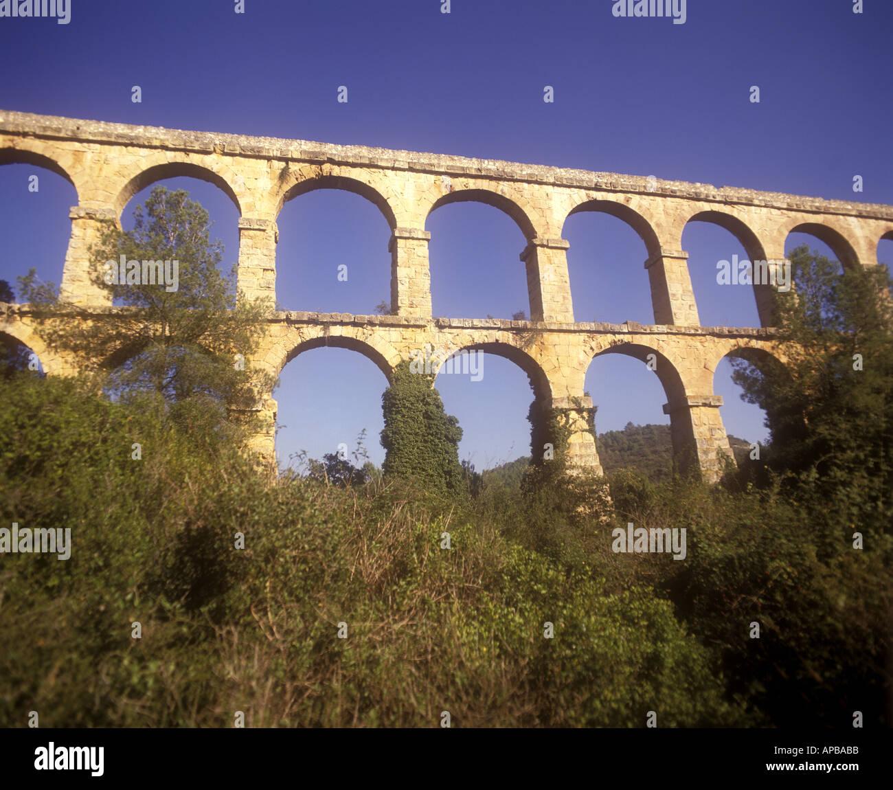 Roman aqueduct Pont del Diable near Tarragona Spain - Stock Image